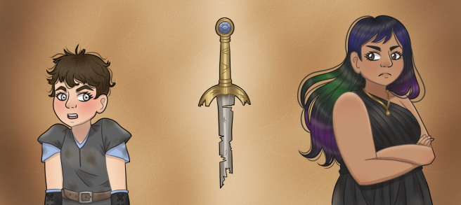Two women, Raya and Eode, stand back to back with a broken sword separating them